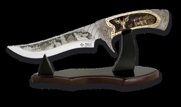 Снимка на Нож с дървена поставка /38 см/ - 31685