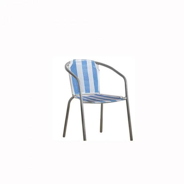Снимка на Стол Метал-плетен бяло/синьо сива рамка