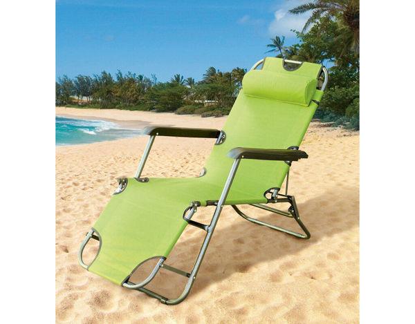 Снимка на Сгъваем стол тип шезлонг 153х60х80cm - Светло зелен