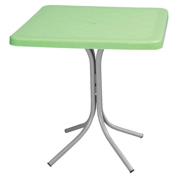 Снимка на Маса пластмасова FONTE Зелена с метални крака 70x70